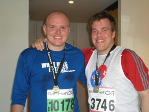 Victorious ... and more than a little sweaty. Steve with our friend Ad Wyre after they finished the race.