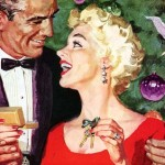 Vintage ad: couple by Christmas tree